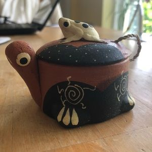 Terracotta Snail with Frog Tea Light Candle holder